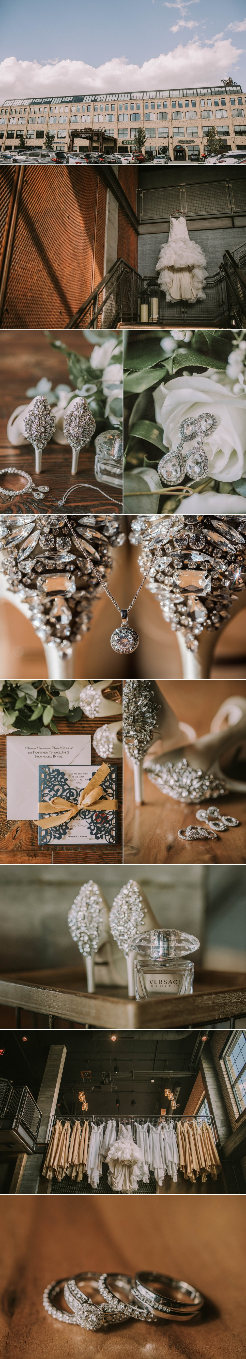 ironworks hotel bridal details wedding day carmel indiana