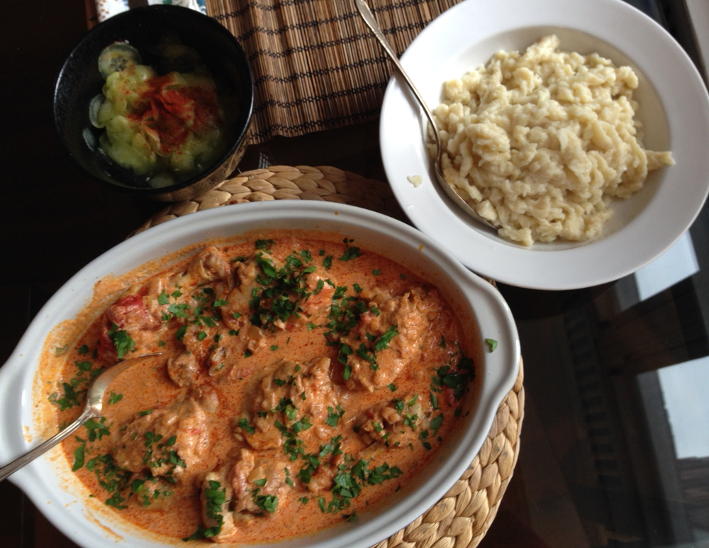 Chicken Paprikash and Hungarian Nockedli (Spätzle). Find the Recipes Below!