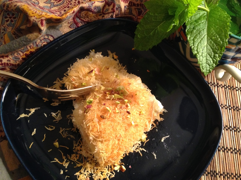 Knafeh, a Middle Eastern pastry with sweet cheese and sugar syrup. Scroll down for the recipe!