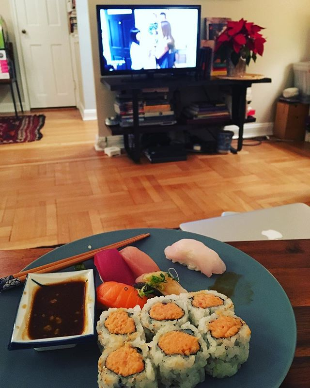 Sitting on the couch, eating my sushi, watching #mariekondo . Don't judge me. 🍣