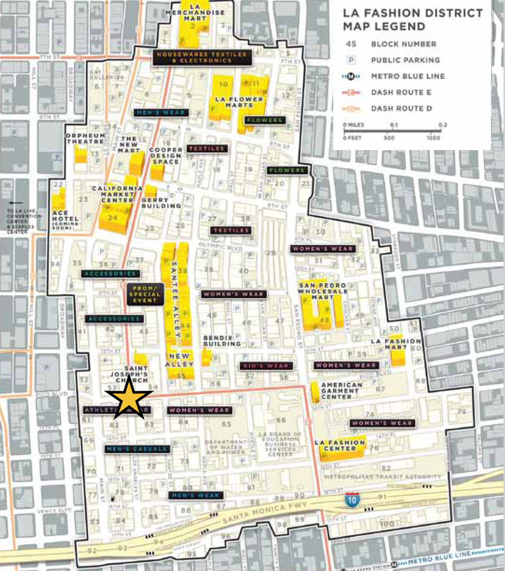 Map of Los Angeles Fashion District. Photo courtesy of CBRE.