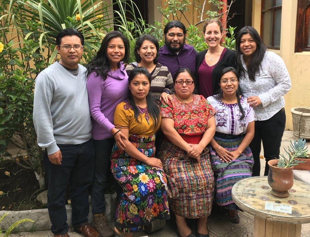 (Left to right) Back row:Alejandro Chán,Amparo Monzón,Angélica Mejía, Giovanni Batz, Lauren Heidbrink, and Celeste Sánchez.Front row:Catarina Chay Quiej,Ramona Elizabeth Pérez Romero,Sandra Elizabeth Chuc Norato.