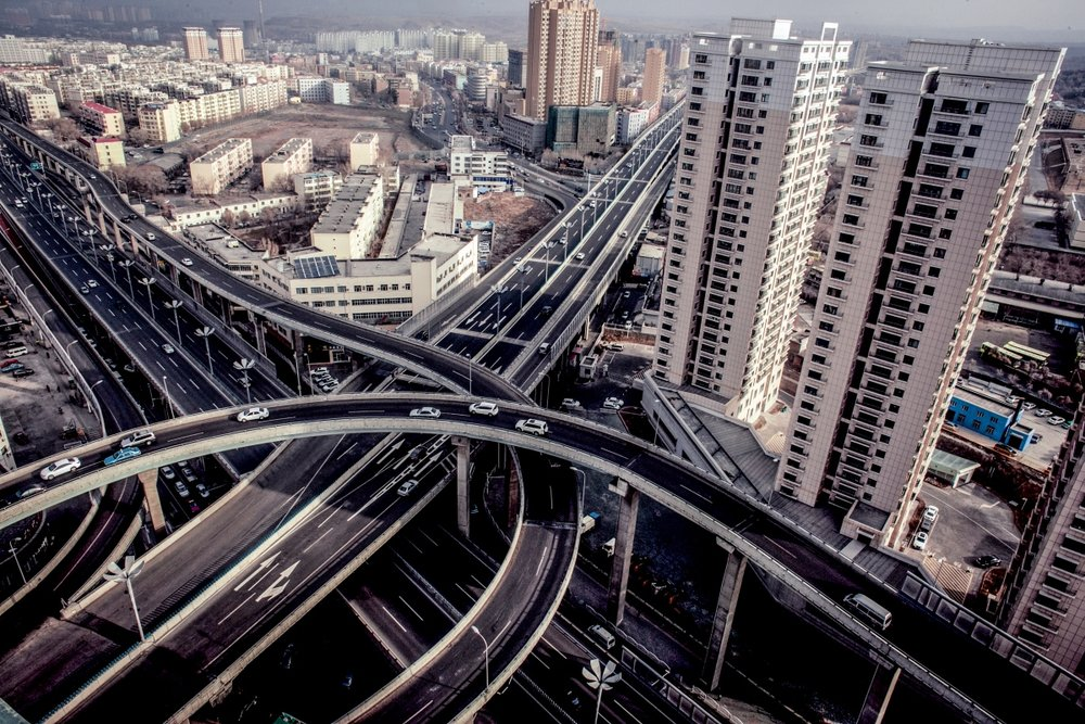 Newly built freeways in the city.