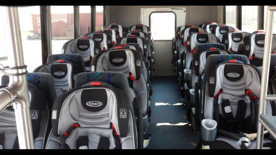 "Private prison company GEO Group advertises its ""New Specialized Transport Buses"" for immigrant children.  Source ."