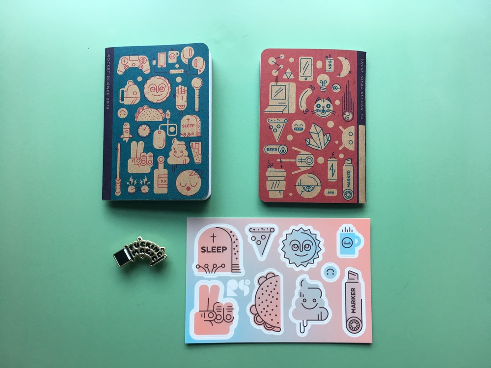 2 color screen printed Scoutbook, Fucking Magic enamel pin, kiss-cut sticker sheet