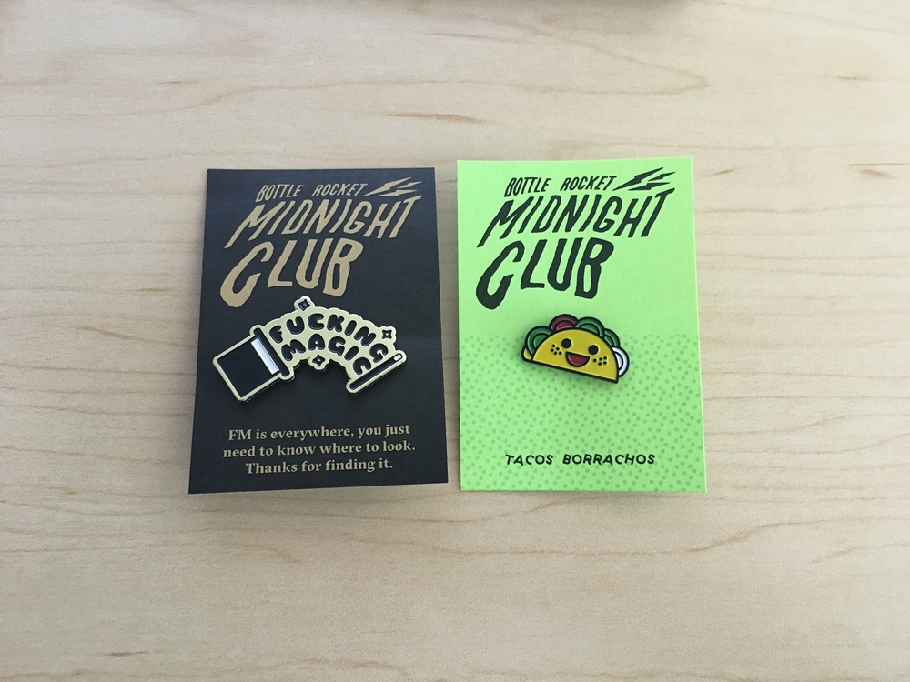Custom enamel pins for Midnight Club 2016