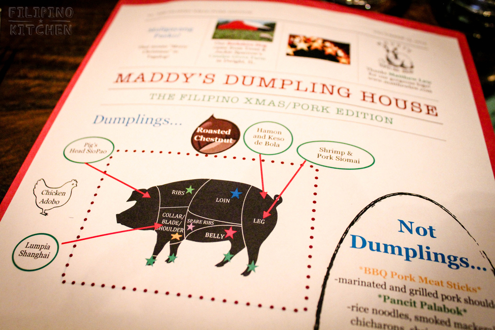 Porcine education.The Maddy's Dumpling Menu, Flipino Christmas/Pork Edition.