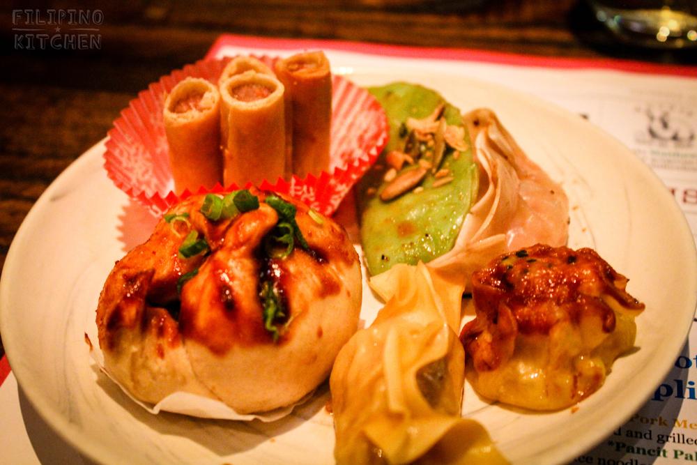 The Dumplings (clockwise):Lumpiang Shanghai,Roasted Chestnut and Tofu, Hamonado & Queso de Bola,Pork & Shrimp ShuMai, ChickenAdobo,Pig's HeadSiopao