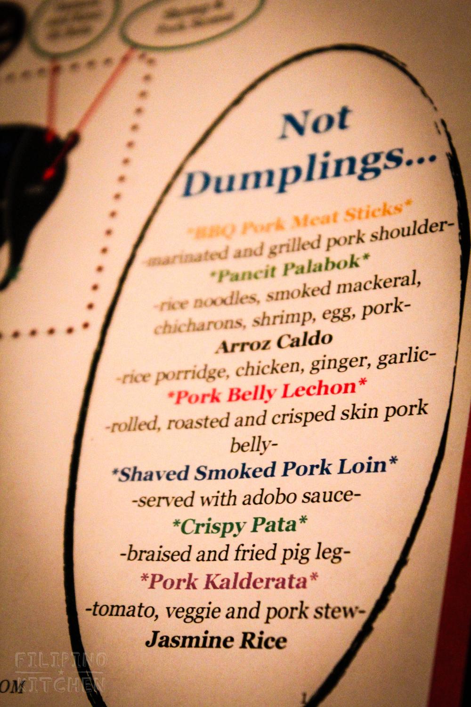 """Not-Dumpling"" Menu"