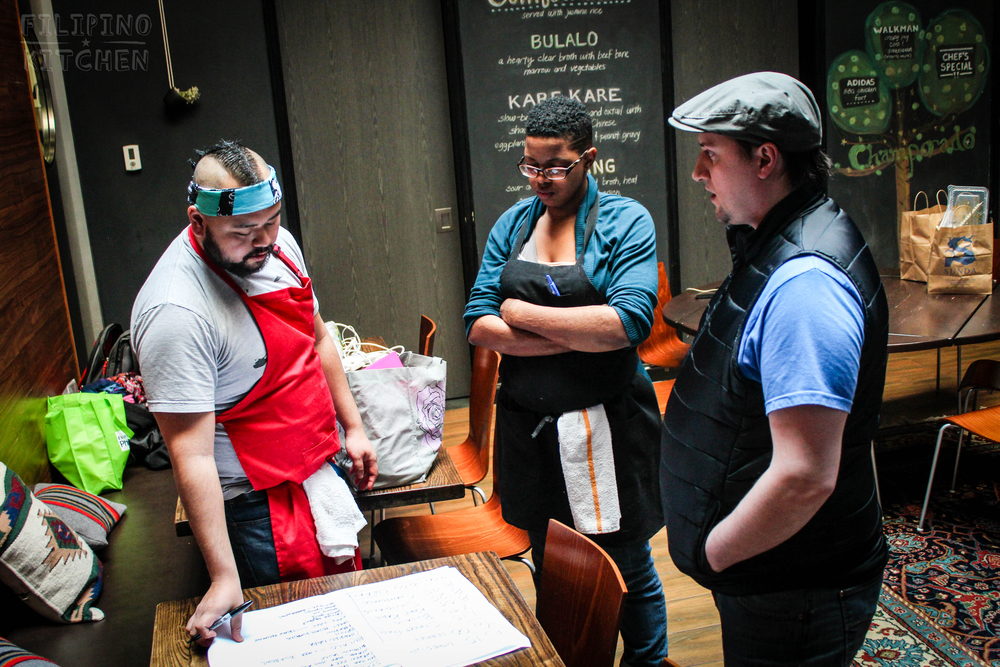 Kitchen Staff Meeting with Chefs AC Boral, Maranda and Tony (left to right). Below, Chef Anthony Luis joins the prep.