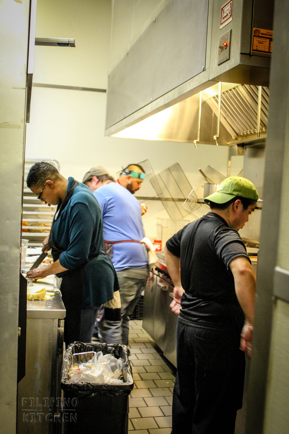 Chefs Maranda, Tony, AC and Anthony (left to right) busy prepping dinner.