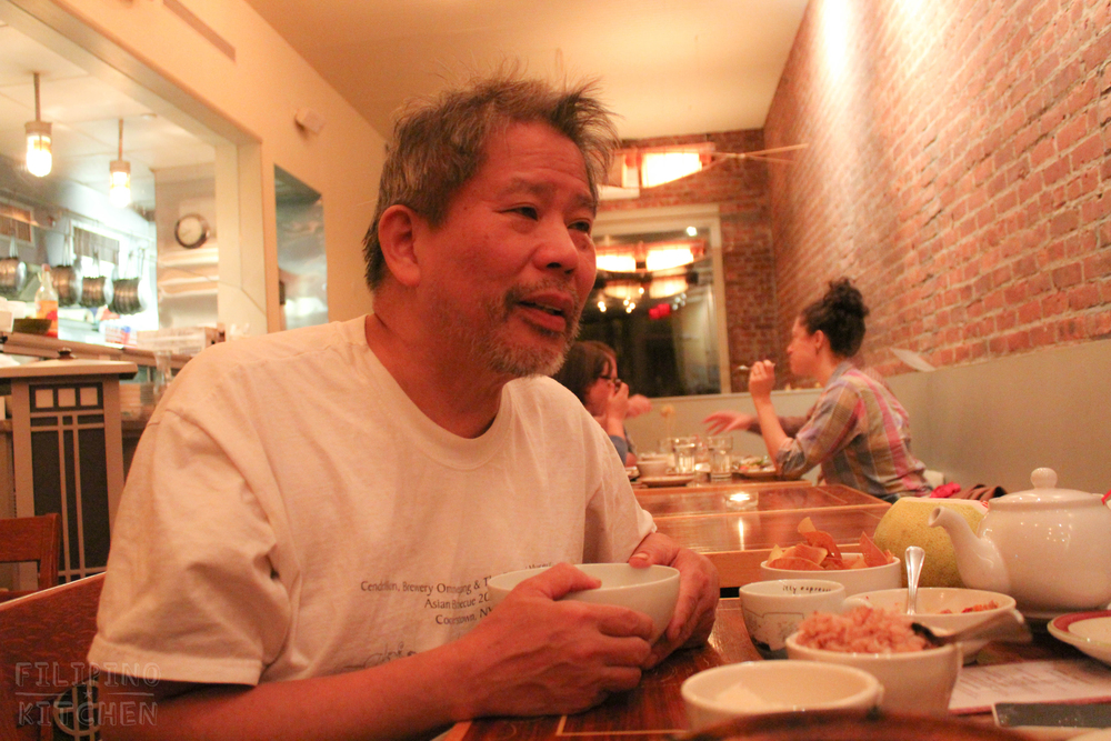 "Alternating between English and Tagalog (translated here), Chef Romy described how he got his training in the kitchen.   ""'Self-taught' is not the right word. I worked in restaurants. You cannot be reading and cooking on your own. People taught me how to cook in the restaurant.""  ""And then I started, of course, reading cookbooks and feeding staff. And then that's how I learned the vocabulary. But it's all French-based, the terminology. Because the restaurant world actually uses the French system, how to produce food."""