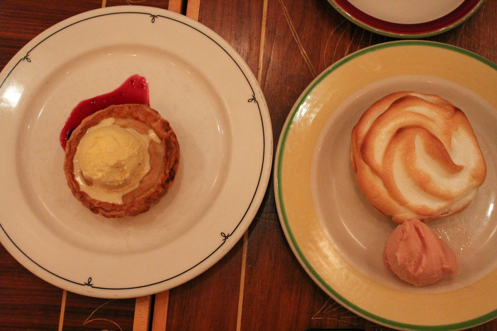 Buko (coconut) pie, a calamansi meringue pie with guava ice cream