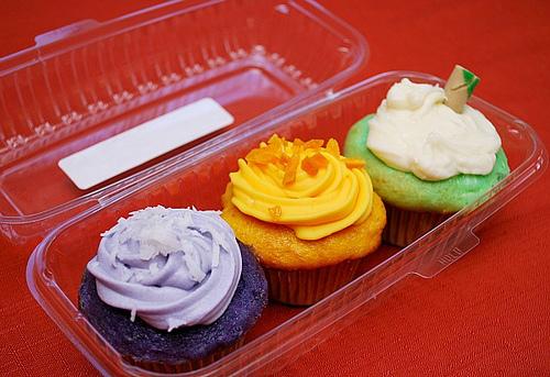 Tropical cupcake trio: mango, ube, buko pandan (young coconut and sweet, nutty herbs).Photo courtesy of Chef Joelen Kenny.