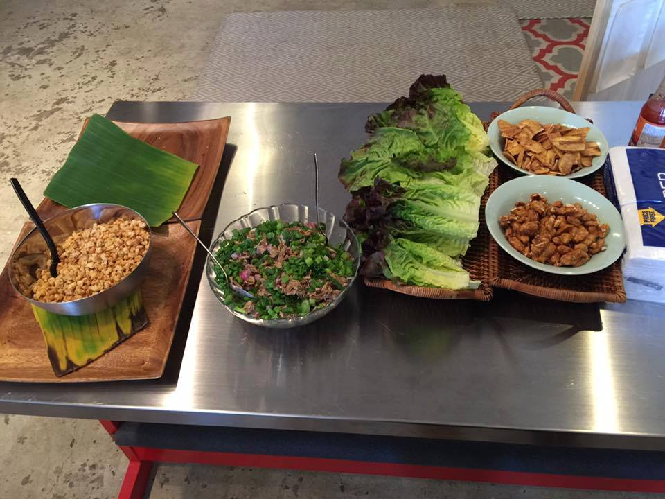 Lechon Lechon (shredded, roasted pork) lettuce wraps, mango-tomato salsa, calamansi dressing. Photo courtesy of Chef Joelen Kenny.
