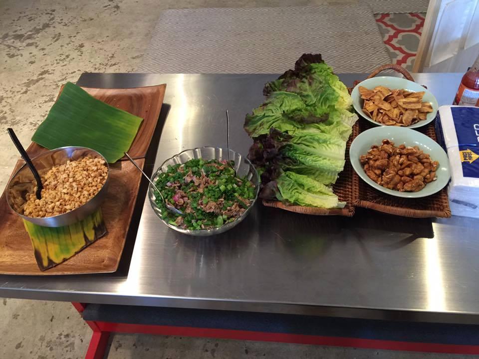 Lechon Lechon (shredded, roasted pork) lettuce wraps, mango-tomato salsa, calamansi dressing.Photo courtesy of Chef Joelen Kenny.
