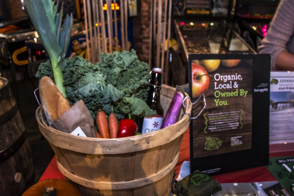 Display of local vegetables and foodstuffs from Dill Pickle Cooperative, a co-op based in Logan Square. Photo credit: Gen Odon