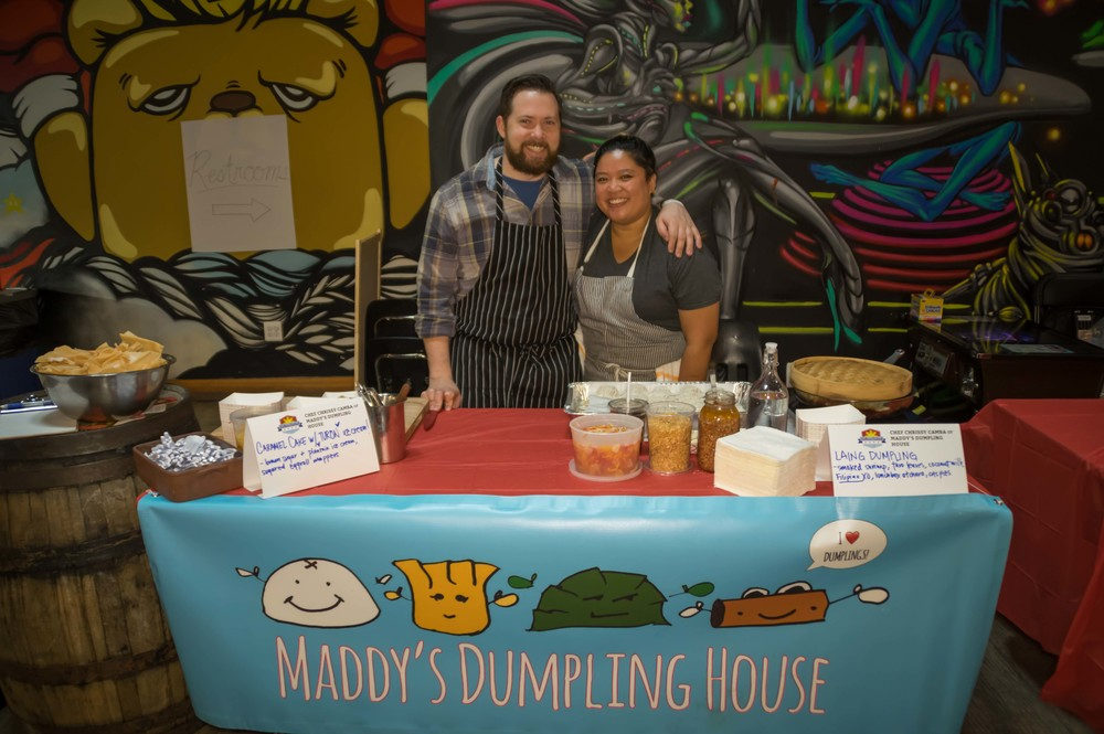 Chef Chrissy Camba of pop-up Maddy's Dumpling House with her fiancé, Chef Ashlee Aubin of Wood and Salero. Photo credit: Bryan Becares.