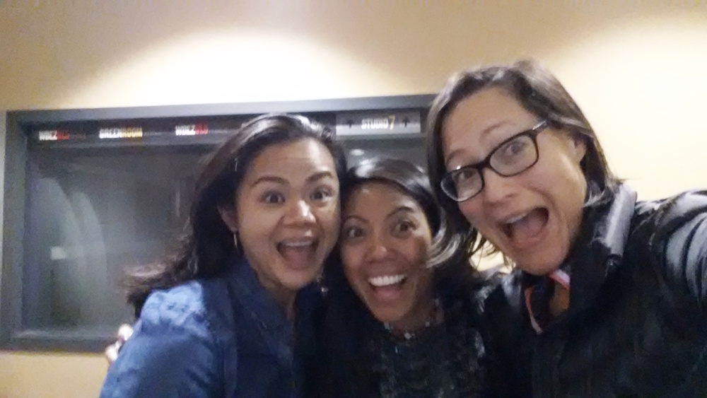 Chef Kristine Subido, left, and Sarahlynn Pablo of Filipino Kitchen, middle, joking around post-interview with Chicago Public Radio/WBEZ producer and journalist, Monica Eng (far right). Photo courtesy of Monica Eng.