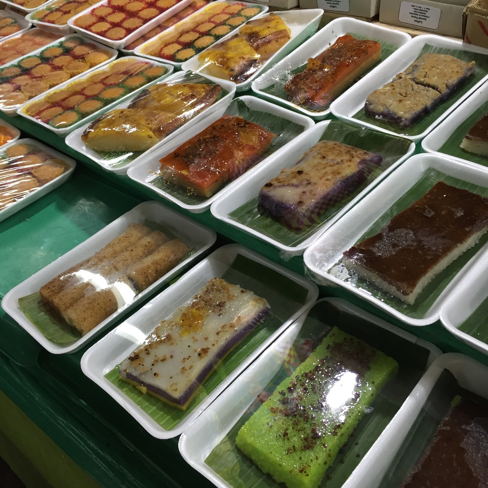 Typical rice cakes at a kalinderya (cafeteria) – Cubao, Manila
