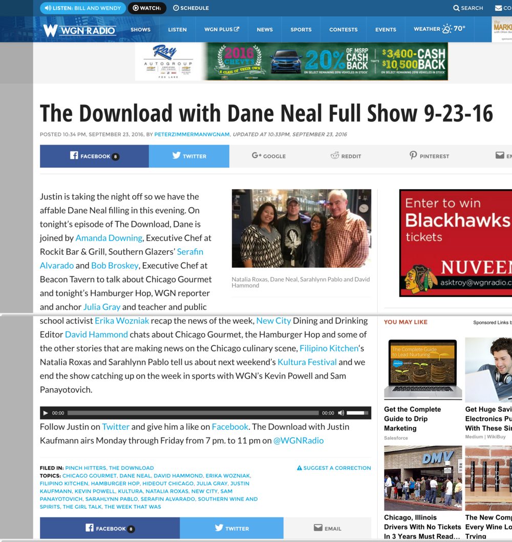 WGN Radio: The Download with Dane Neal Full Show 9-23-16