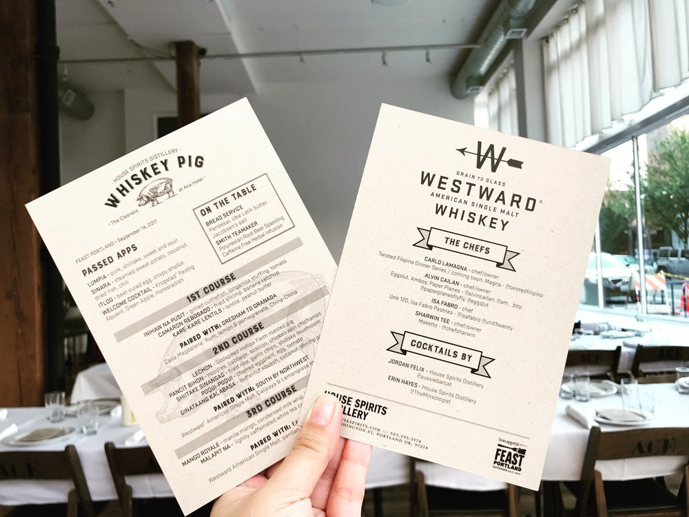 Whiskey Pig Filipino Dinner menu, Feast Portland, 2017.