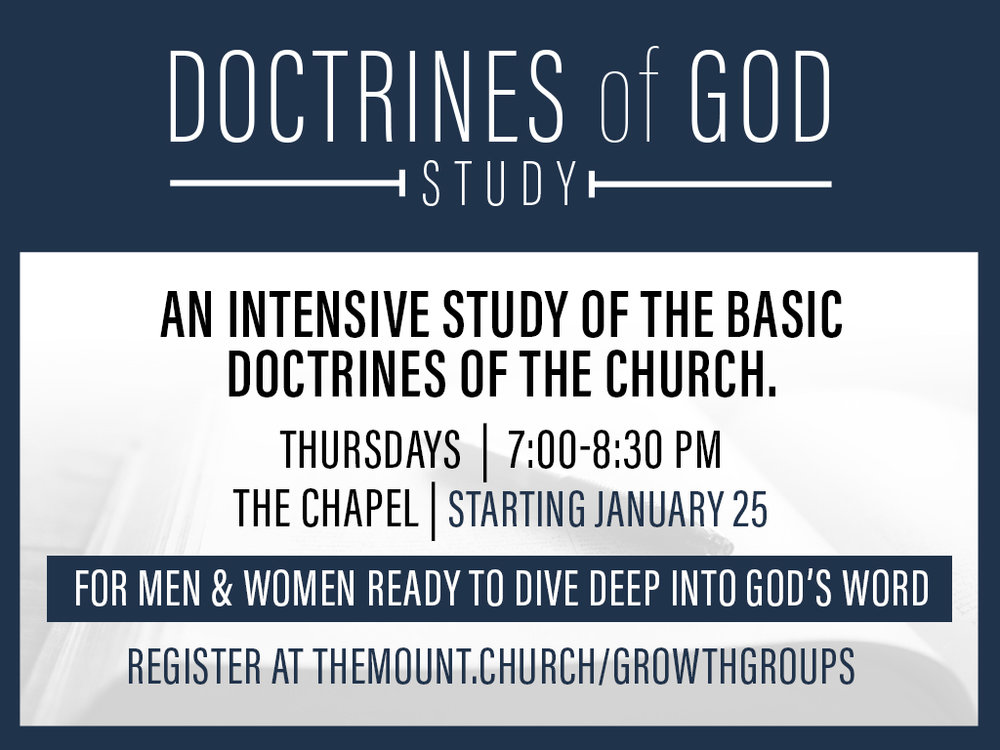Doctrines of God Study - A weekly study on the foundational biblical doctrines of God and the Christian faith; includes weekly self-study notebook.