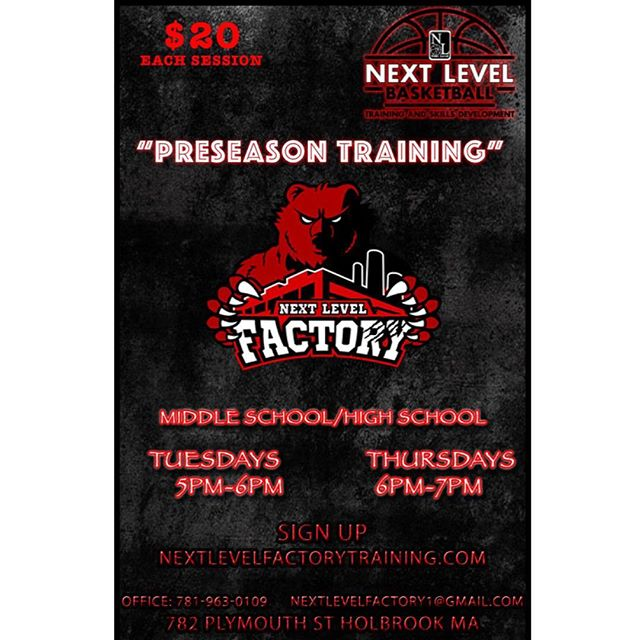 Our weekday preseason training at our gym @nextlevelfactory in Holbrook starts today!