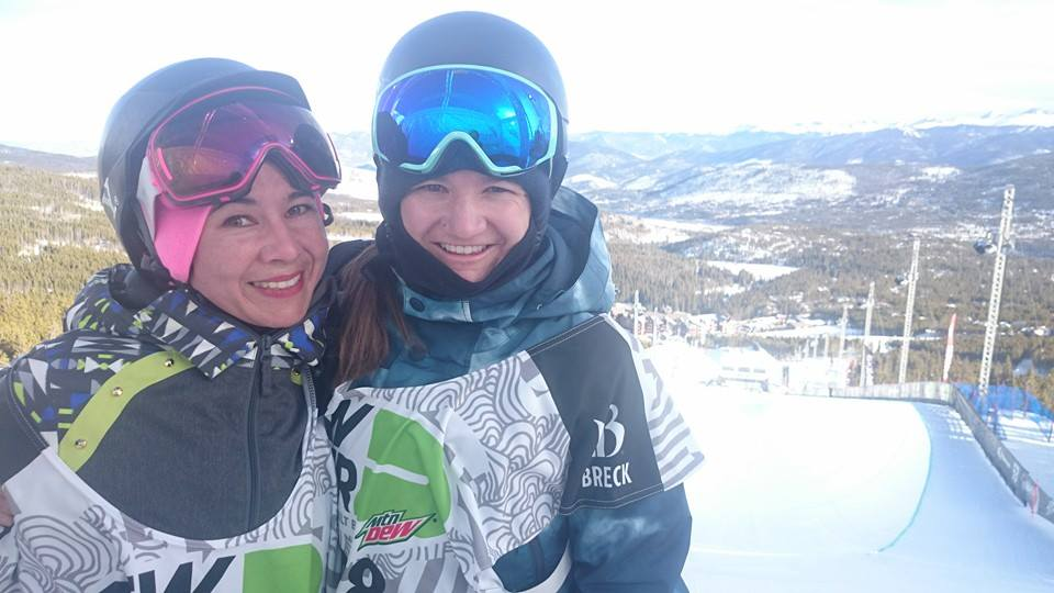 Katie with Dew Tour winner Kelly Clark during the semi finals