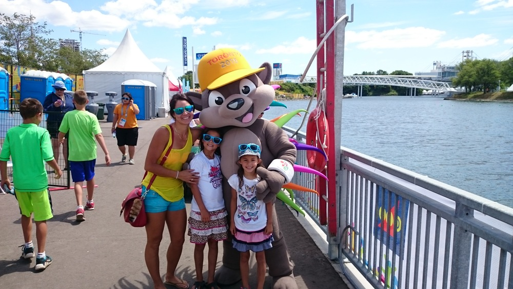 Katie Tsuyuki and her Nieces with the PanAm mascot Pachi