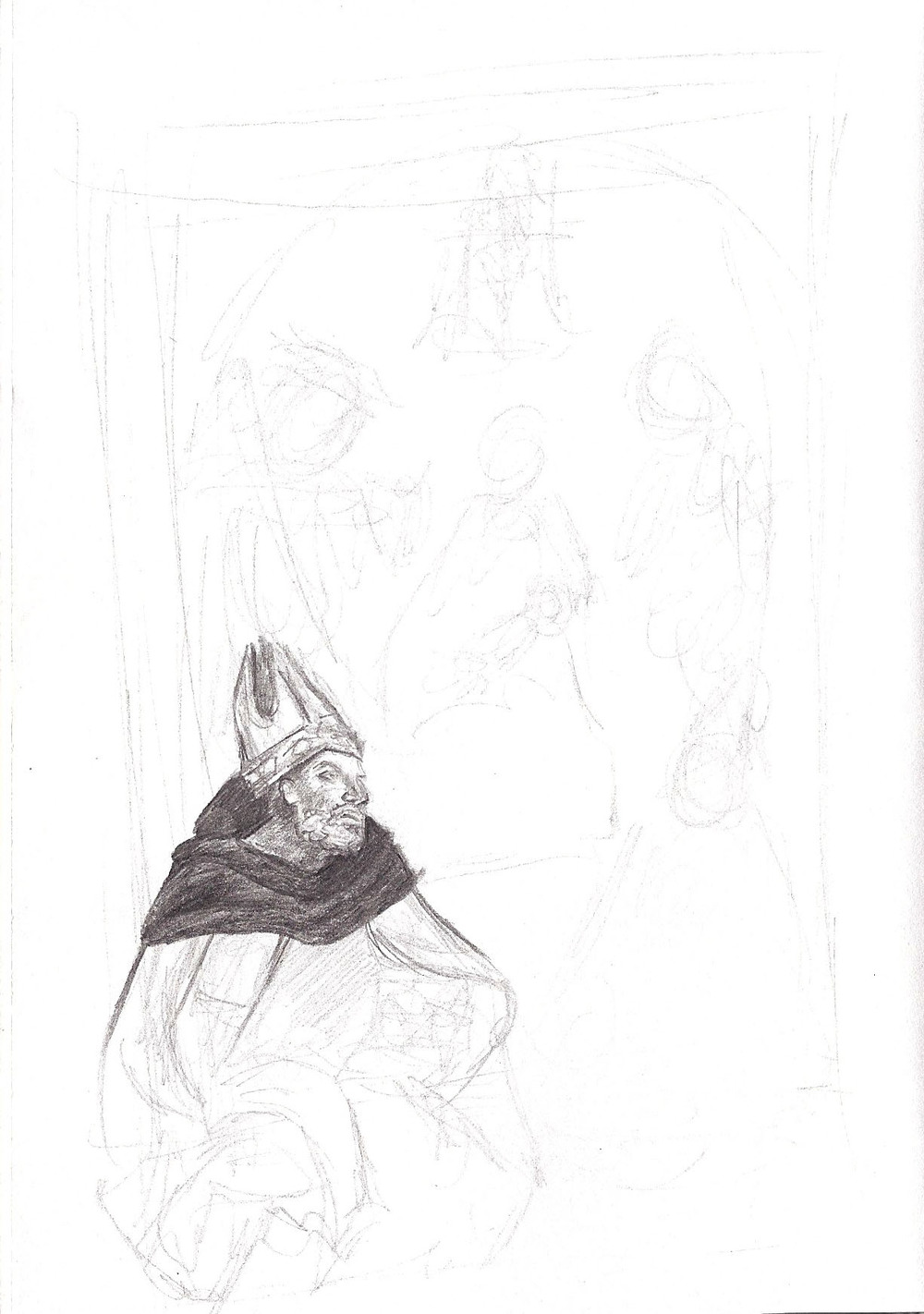Sketch from a painting in the Uffizi in Florence, Italy.