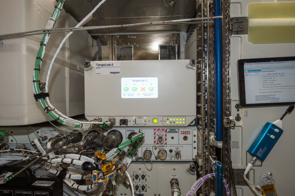 TangoLab-2 after installation in the US Lab on the International Space Station (August 2017).