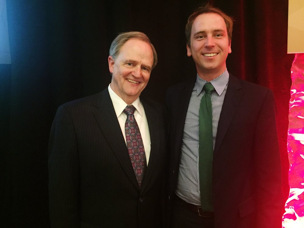 Dr. Lee Todd (left) and Space Tango CEO Twyman Clements (right) at the 2017 Kentucky Entrepreneur Hall of Fame Induction Ceremony.