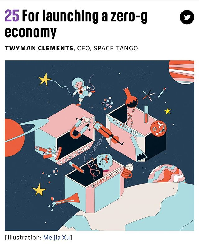 LAUNCHING A ZERO-G ECONOMY 🚀 | Congratulations to Space Tango CEO/Co-Founder Twyman Clements for ranking # 25 on the @fastcompany list of 100 #fcmostcreative business people!