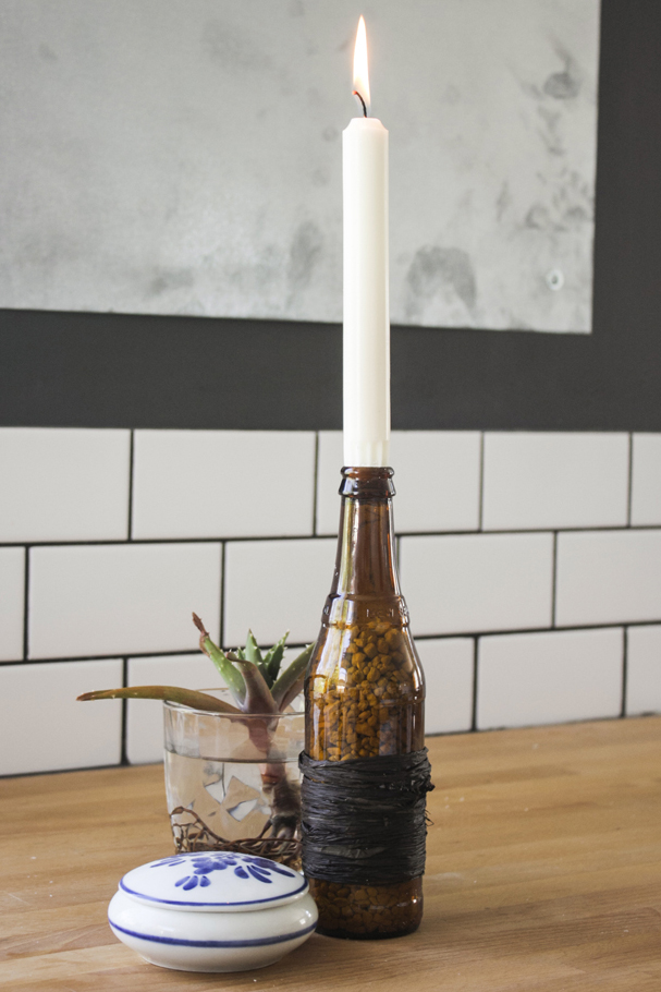 Beer bottle candle holders northwest workshop for How to make candle holders out of wine bottles