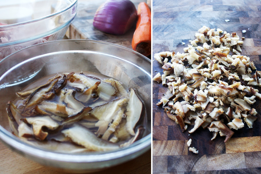 Use boiling water to re-hydrate the mushrooms for about 5 minutes. Drain then cut into small pieces.