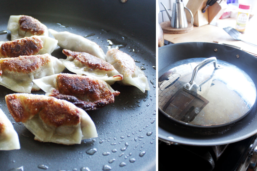 To cook, fry the mandu on both sides 2 minutes each on high. When you get the desired coloring, add about a Tablespoon of water then immediately turn the heat to low and cover for about 5 minutes.
