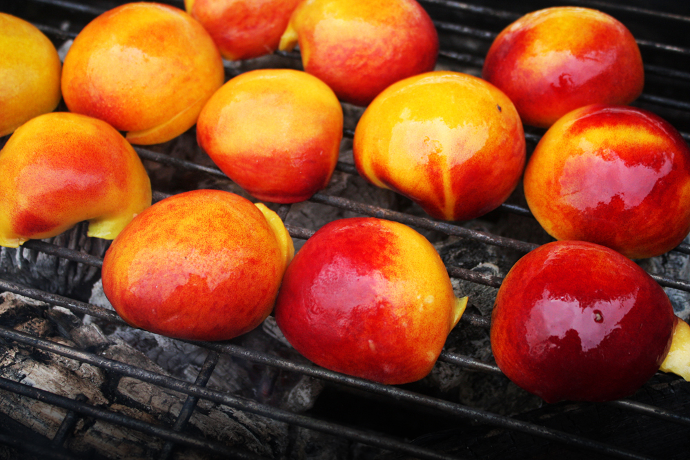 Grill the peaches, cut side down, on the hot zone of your grill for about 3-5 minutes on each side, depending on how much char you want.