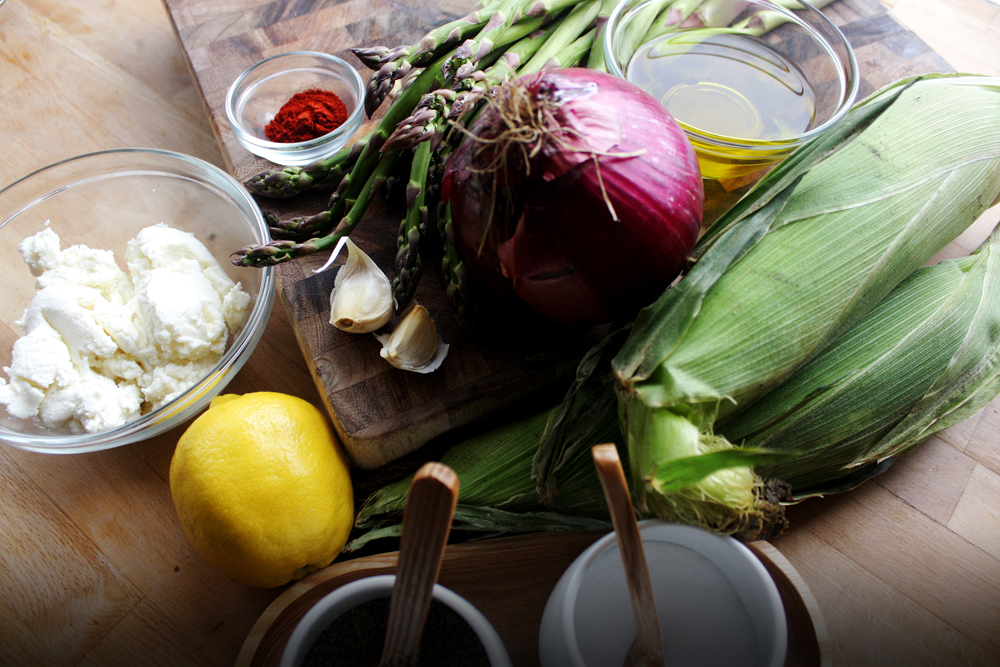 The ingredients: corn, red onion, asparagus, garlic, olive oil, paprika, salt, black pepper, ricotta, lemon zest and juice.