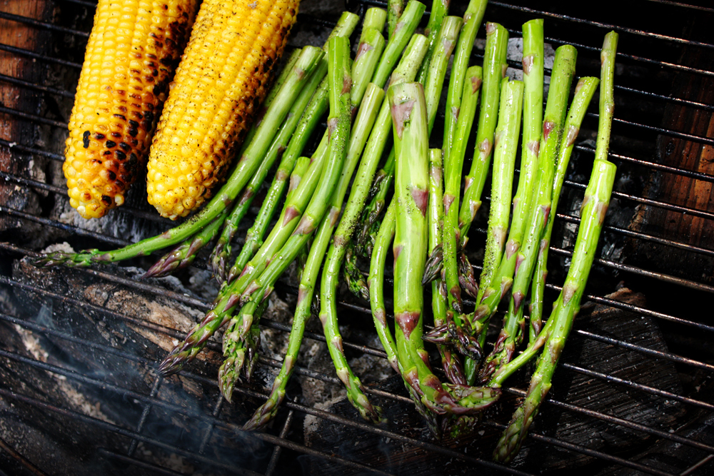 If you don't have room on your grill (I happen to be smoking some ribs on the cool side of my grill) do the veggies in batches. The corn will take the longest because you'll have to rotate the cob.
