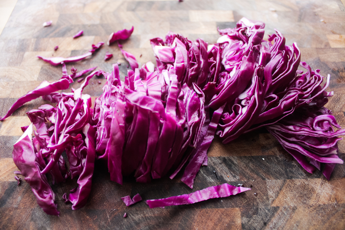 Shred the cabbage.