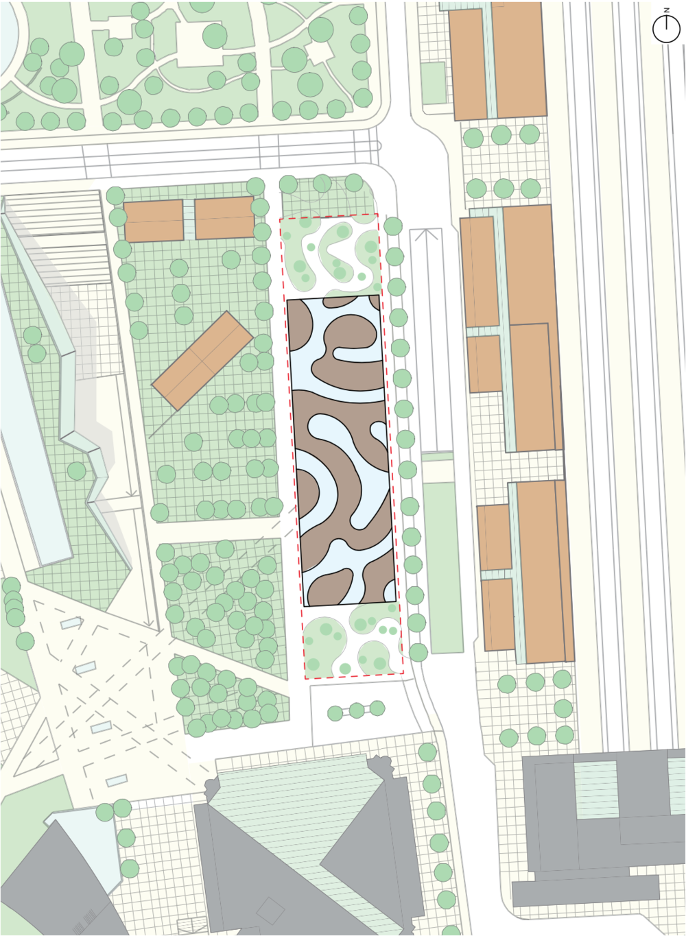 Site plan: how the proposed footprint relates to surrounding buildings and the site -