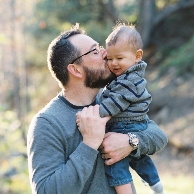 In the 10+ years I've known Chris, this is the softest I've seen him sharing a moment with his lil' big man. #photographer #contax645 #filmisnotdead #fuji400h