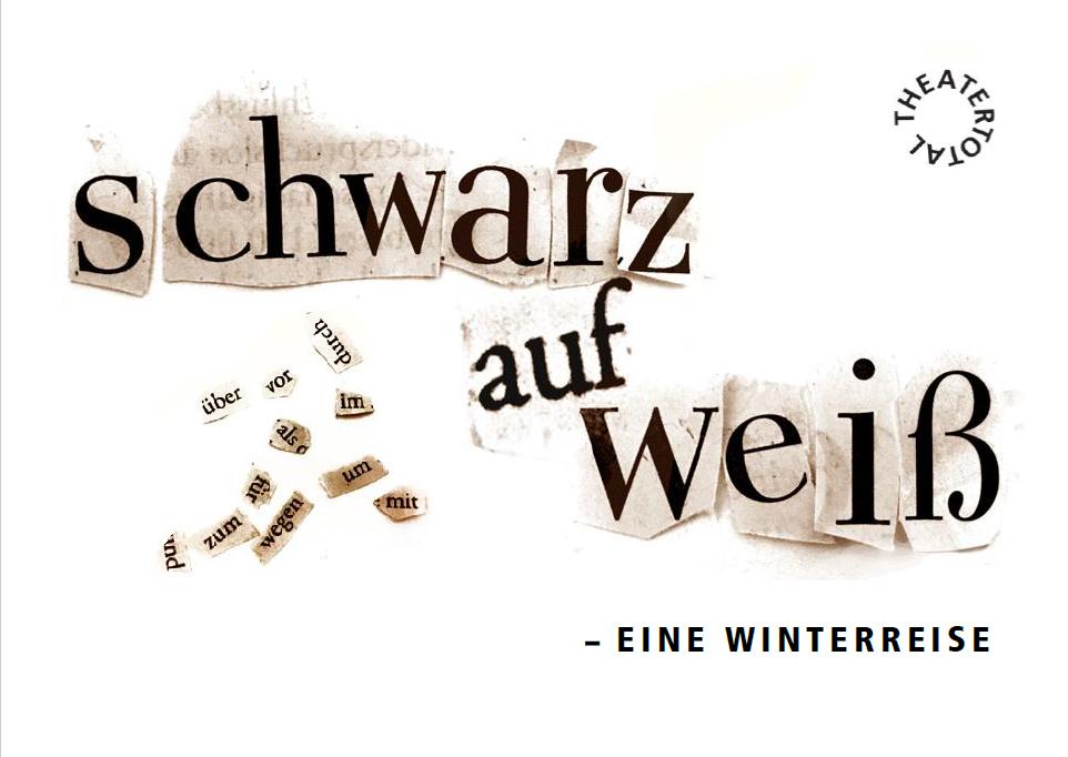 """Postkarte Performance 2018/2019 """"Schwarz auf Weiß - Eine Winterreise"""""""