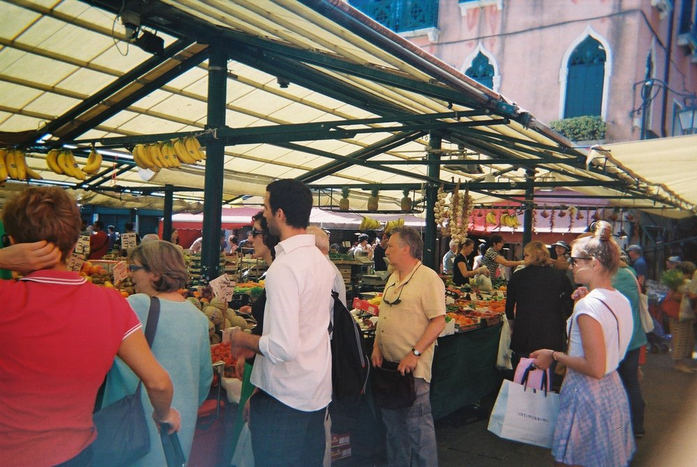 The markets in Venice still stand exactly where they did in all of the years gone by... fresh fruit and veg galore!