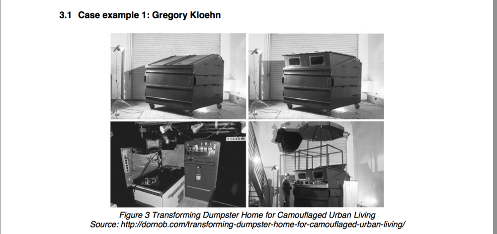 Images showing the various features of the upcycled dumpster.