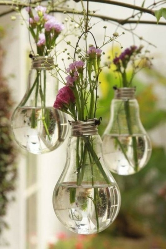 Simple vases created from used light bulbs.