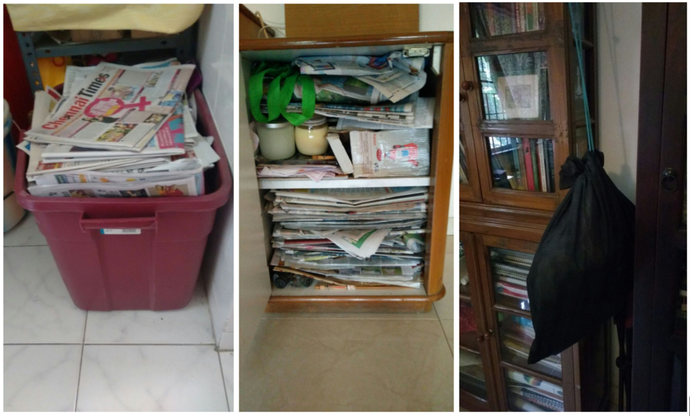 Images showing storage systems seen in Indian households.