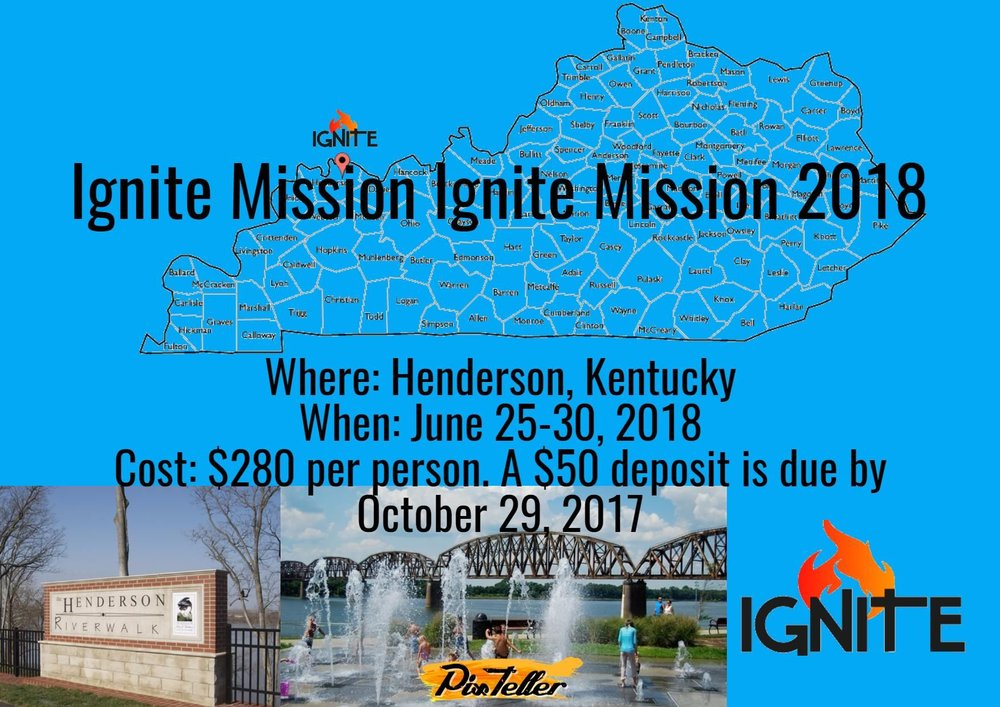 Where: Henderson, Kentucky When: June 25-30, 2018 Cost: $280 per person. A $50 deposit is due by October 29, 2017 Questions: Contact Crystal at (567)232-0936