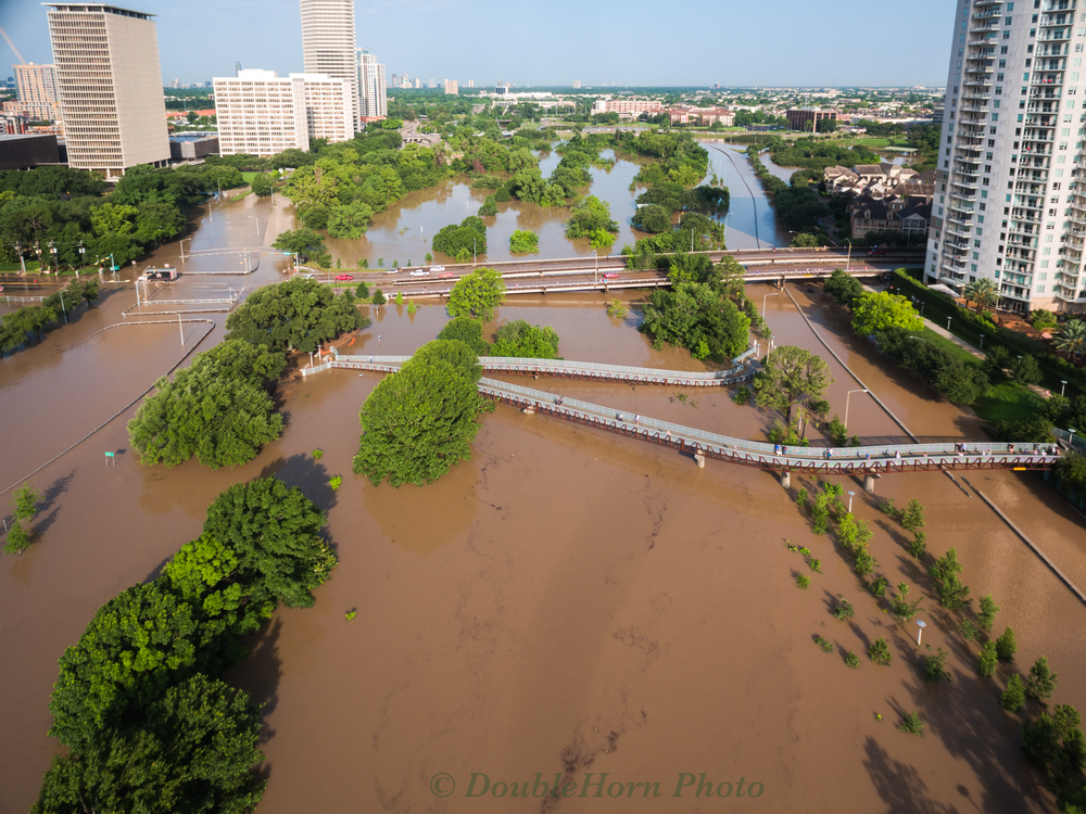 This looks East at the Montrose intersection with Allen Parkway (left side) and the Montrose overpass of Memorial Drive (right side) 5/26/2015